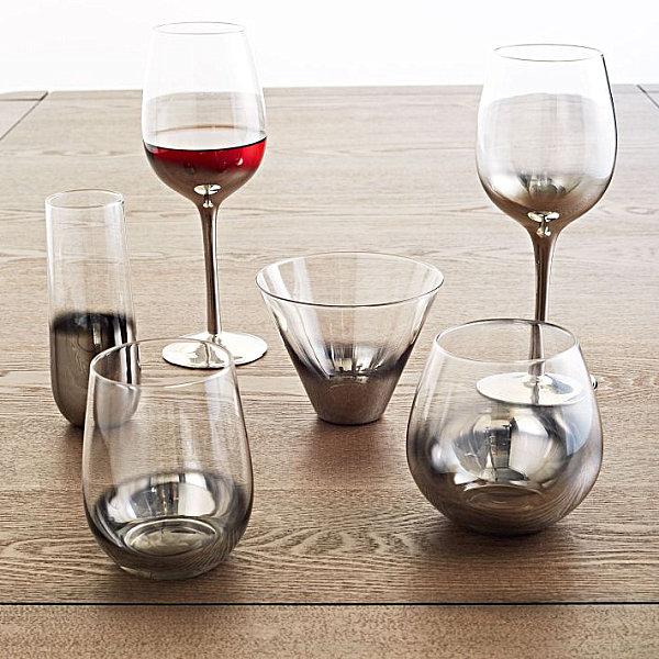Metallic ombre glassware