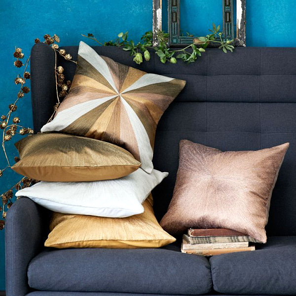 Metallic pillows from West Elm