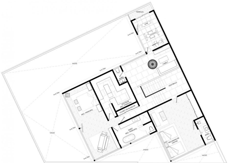 Mexico city home floor plan - second level