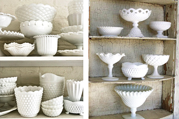 Milk glass collectibles