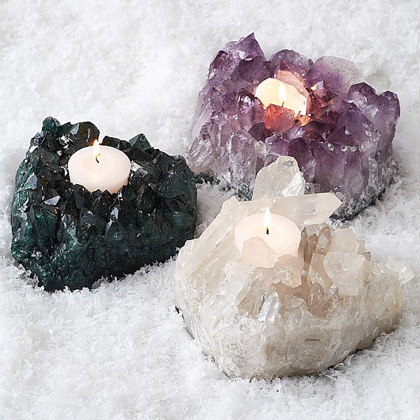 Mineral crystal votive holders