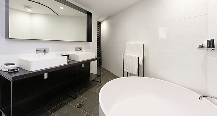 Modern bathroom in black and white