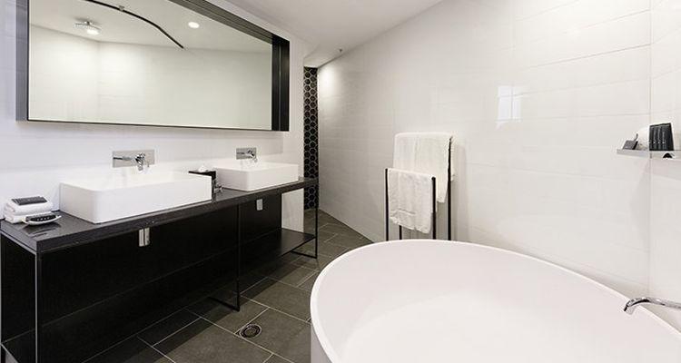 Modern bathroom in black and white