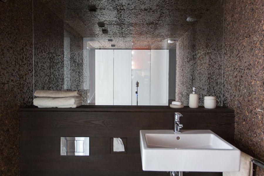 Modern bathroom inside sustainable home