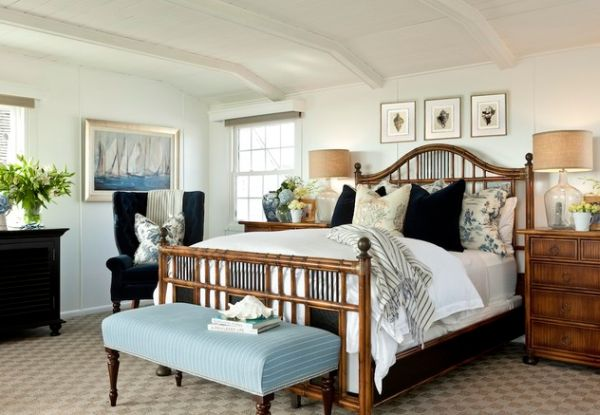 modern bedroom with a coastal style borrowed from the far east