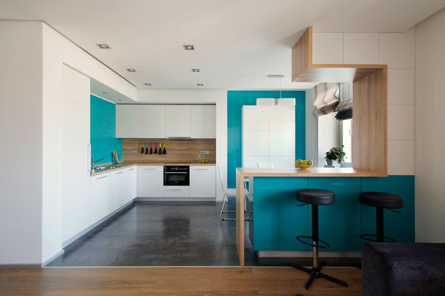 Modern kitchen in turquoise and white
