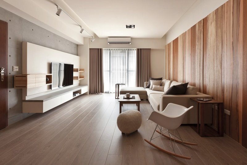 Modern living room with wooden flooring and walls Organic And Minimalist Interior Inspirations From The Far East