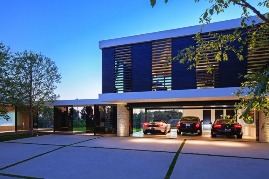 Modern parking garage of California home