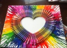 Multicolored heart with melted crayons 217x155 50 Beautiful DIY Wall Art Ideas For Your Home