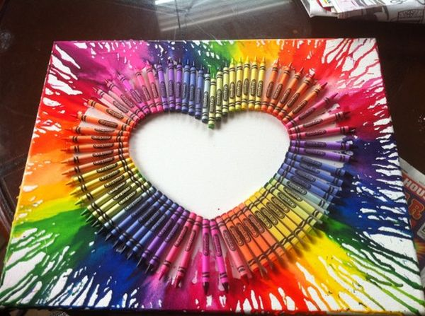 Multicolored heart with melted crayons