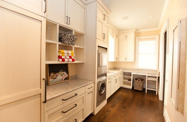Narrow laundry room design with plenty of shelving space