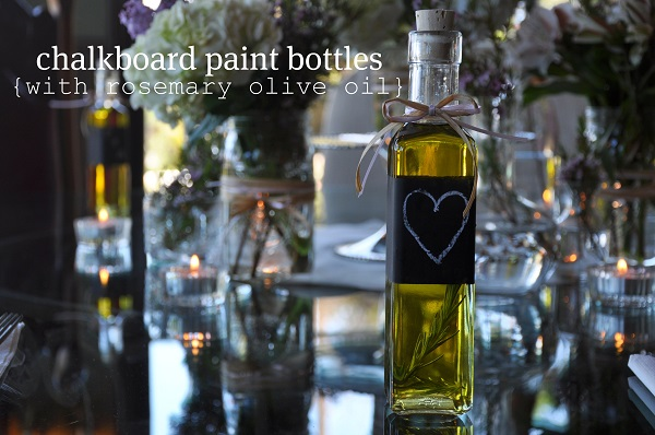 Olive oil bottle with chalkboard label