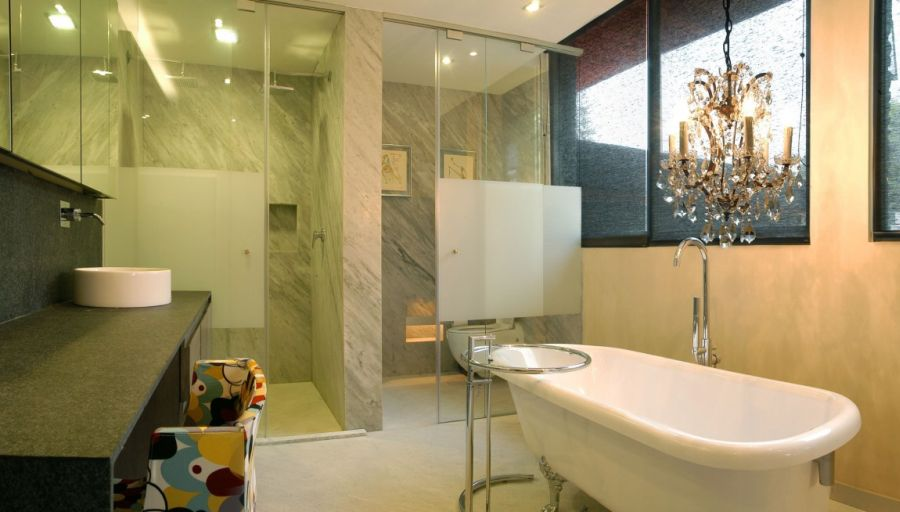 Opulent bathroom design with eclectic decor