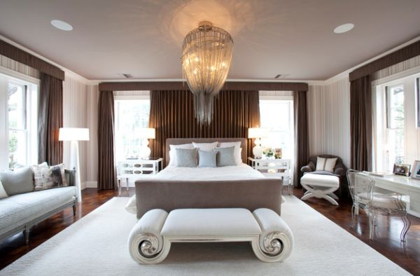 Opulent bedroom with lavish hotel decorating style