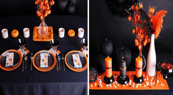 Orange and black table decorations