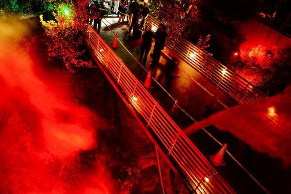 Orange lighting with fog cobwebs and police tape