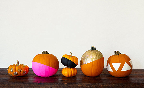 Paint-dipped pumpkins