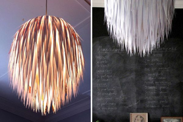 50 coolest diy pendant lights view in gallery paper scrap pendant diy mozeypictures Choice Image
