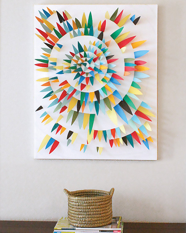 Paper scrap 3D wall art idea