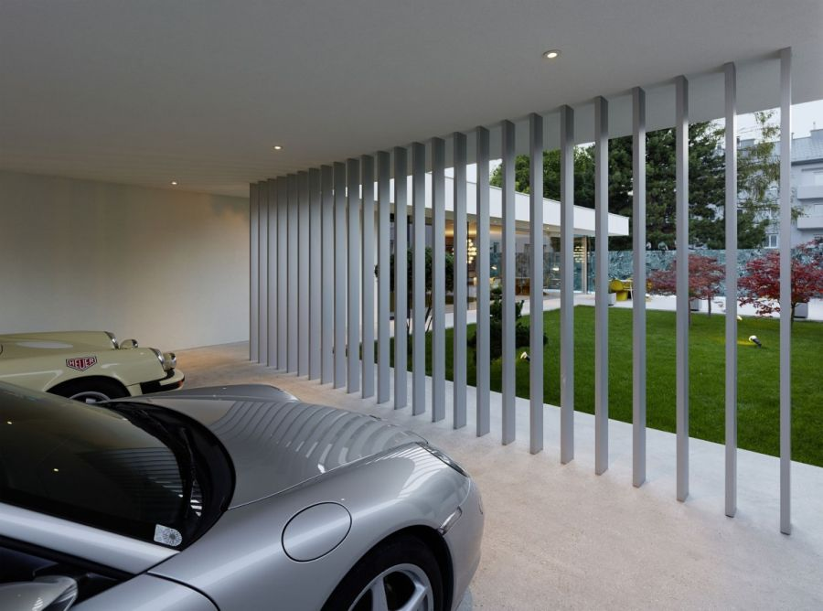 Parking area built into the home