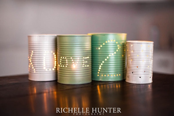 Pastel tin can lanterns