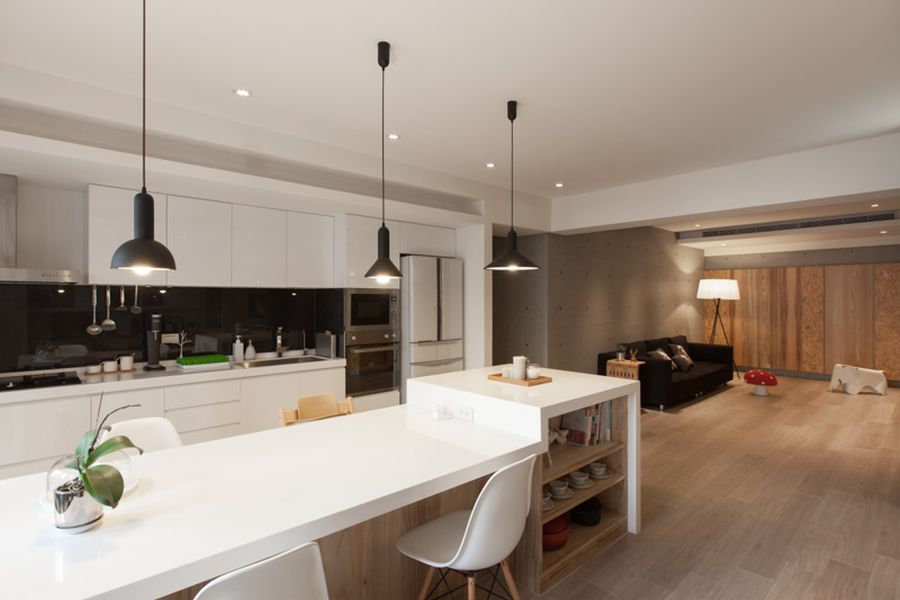 Pendants add visual contrast to the kitchen