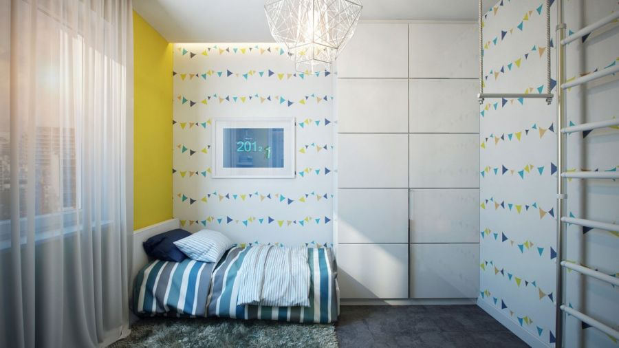 Playful wall decal in the kids' bedroom