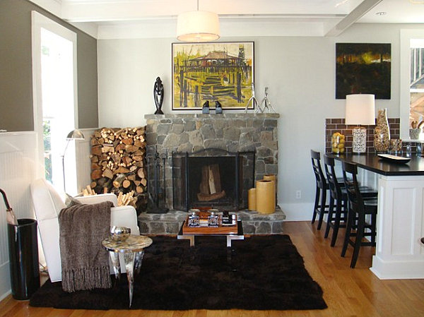 Plush rug by a kitchen-side seating area