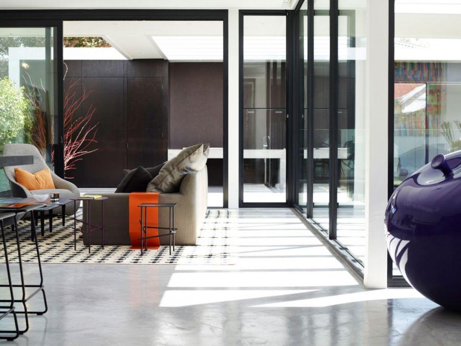 Pops of orange and purple indoors