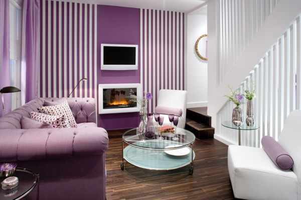 Purple and white stripes showcase a refined setting