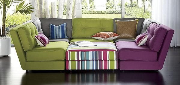 purple armless sectional seating - Purple Furniture