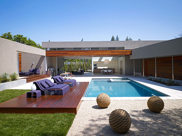 Purple seating by the pool