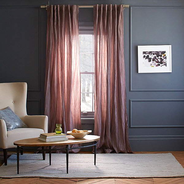 Purple-toned curtains