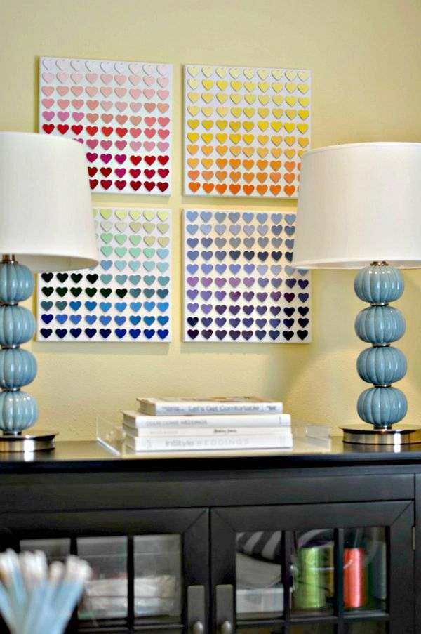 Rainbow paint chip wall art DIY idea