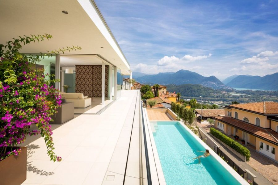 Refreshing outdoor patio with view of the alps