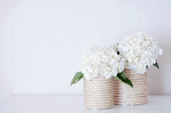 Rope wrapped vases made from tin cans