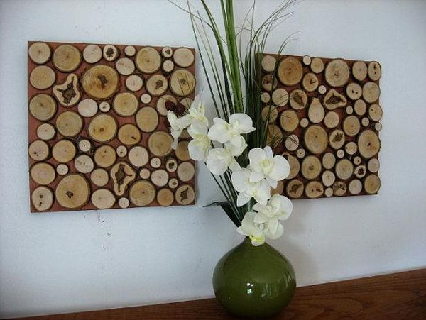Rustic wood slice wall art
