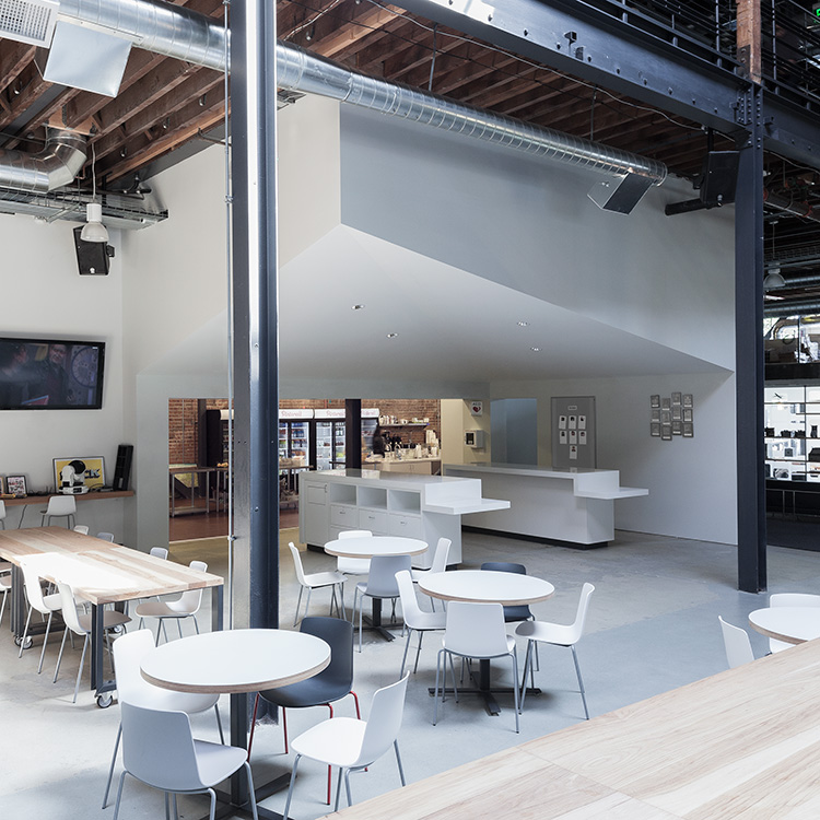 Seating space inside the Pinterest Headquarters