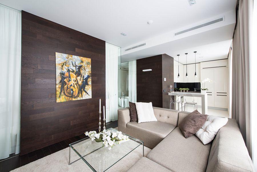 Sectional sofa and wall art