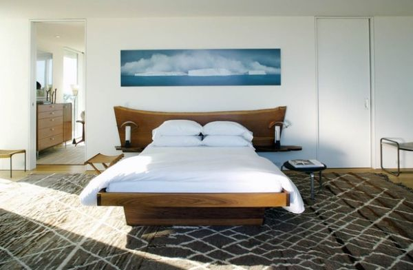 Shape of the headboard evoke a cool coastal vibe