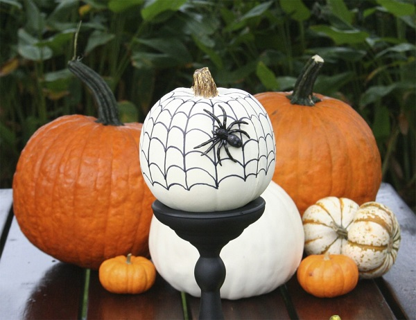 Sharpie spider web on fake pumpkin