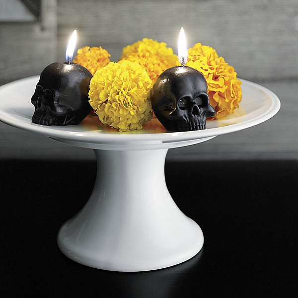 Skull candle and flower centerpiece