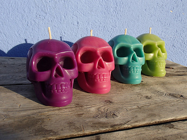 Skull candles in bright colors