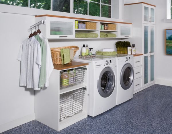 View in gallery Smart shelving units idea for a small laundry room