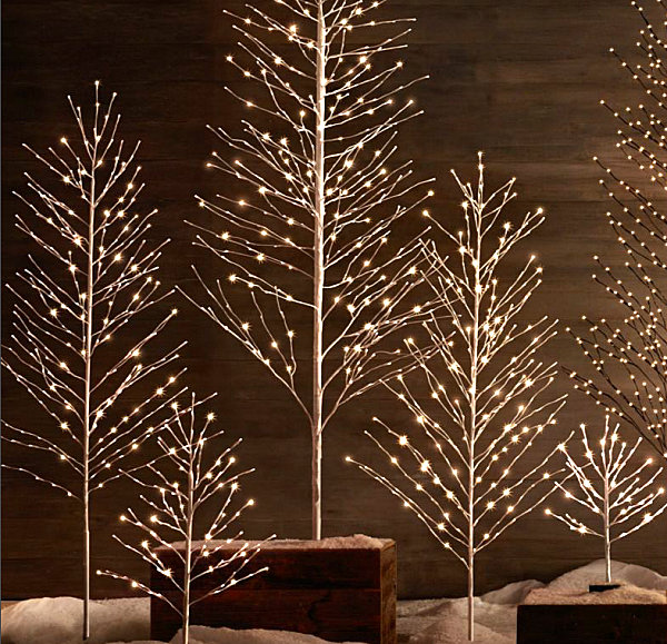 Snowy glittering tree decor