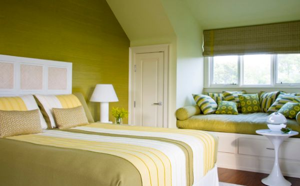 Soothing bedroom with fresh green shades spread all around