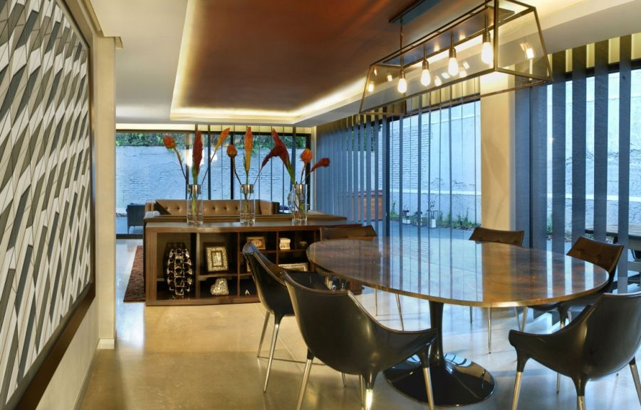 Spacious dining area next to the modern kitchen