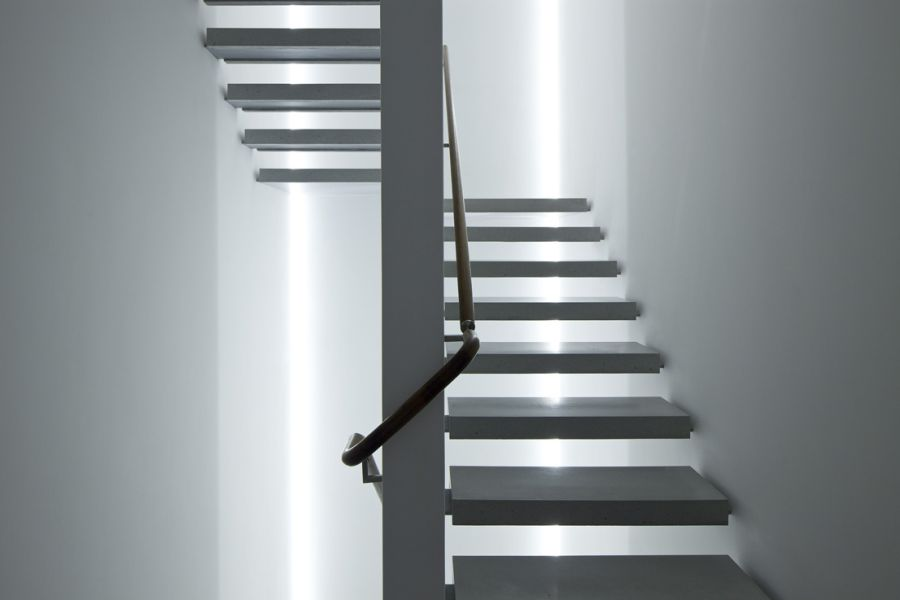 Staircase lading to the top level