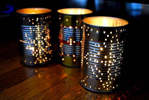 Star-shaped tin can lumiary