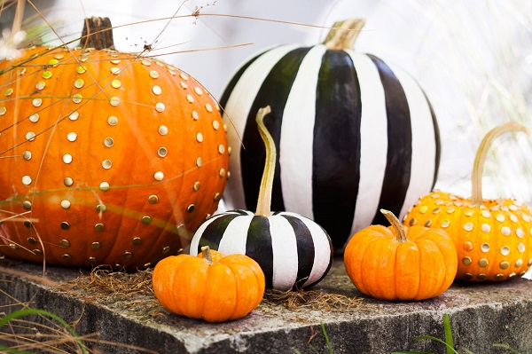 Striped and studded pumpkin designs